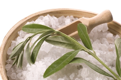 fresh olive branch and bath salt